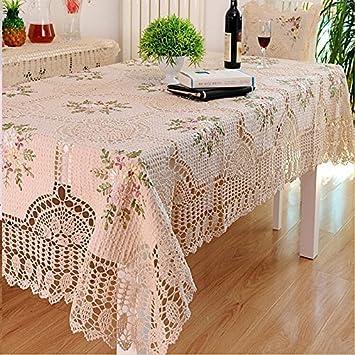 USTIDE té de alta calidad manteles de rústico diseño de flores de bordado de encaje crochet