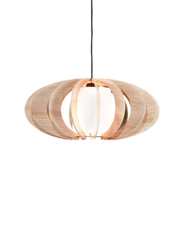Elbmöbel Moderne Design Pendelleuchte Stofflampe NOAH Holz-Lamellen in Eiche oder Wenge Deckenleuchte für Esszimmer Wohnzimmer LED fähig (Eiche, Noah)