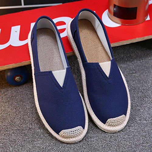 erthome Fashion Spring Summer Men Shoes Lazy Soft Breathable Canvas Sport Flat Shoes Blue CRGG2d