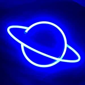 Planet Neon Sign Blue 3AA Battery USB Powered Wall Light Neon Light LED Lights Table Decoration Girls Room Bedroom Wall Décor Kids Birthday Gift Wedding Party Supplies Business Gifts Neon Sign
