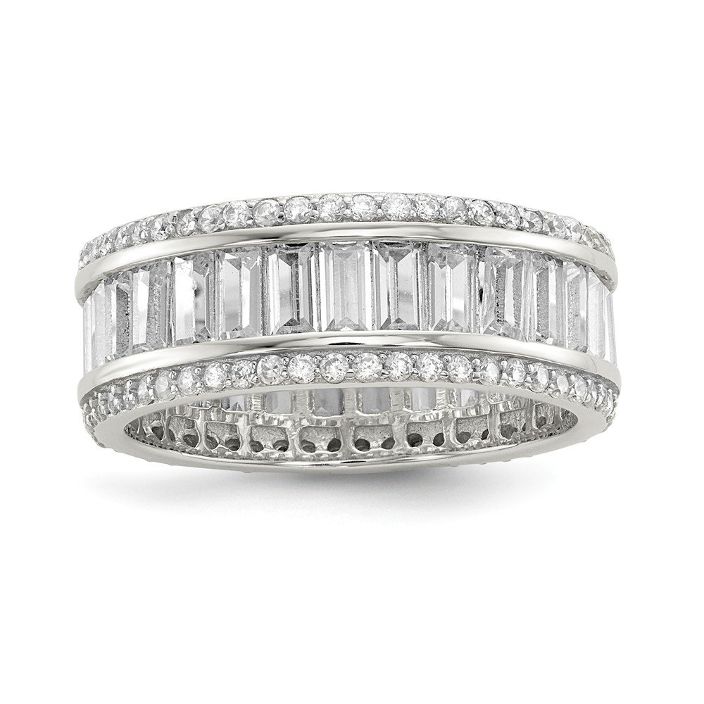 925 Sterling Silver Baguette Round Cubic Zirconia Cz Eternity Band Ring Size 8.00 Fine Jewelry Gifts For Women For Her