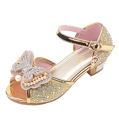Gold Summer New Cute Slip-On Kids Flats Girls Youth Sandals Shoes Size 9-4