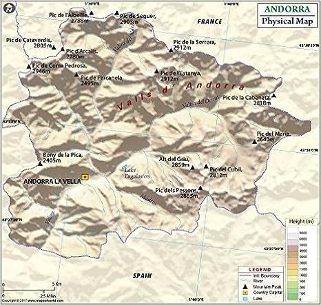 "Andorra Mapa Físico (36 ""W x ..."