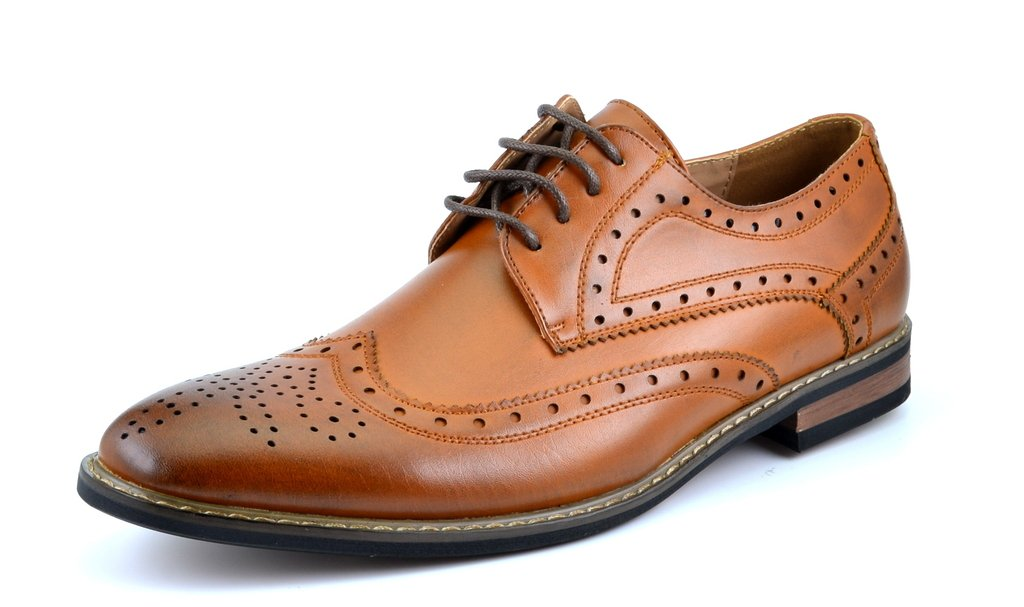 Bruno HOMME MODA ITALY PRINCE Men's Classic Modern Oxford Wingtip Lace Dress Shoes,PRINCE-3-BROWN,9.5 D(M) US