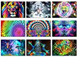 """9x Fabric Poster Psychedelic Trippy Colorful Trippy Surreal Abstract Astral Digital Wall Art Prints 20x13"""" (50x33cm) (1-9)"""