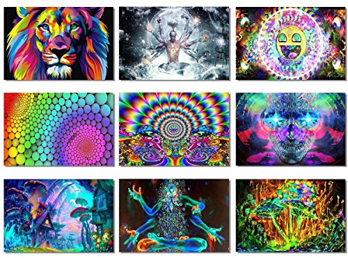 9x-Fabric-Poster-Psychedelic-Trippy-Colorful-Trippy-Surreal-Abstract-Astral-Digital-Wall-Art-Prints-20x13-50x33cm-1-9