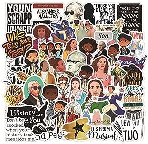 Shuyan Hamilton Musical Stickers 52pcs Waterproof Vinyl Decal Funny Guitar Skateboard Laptop Water Bottle Sticker for Kids,Girls,Teens