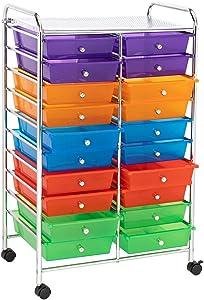 Home Furnishing Plaza Multi-Color 20-Drawer Organizer Cart for Bedroom, Hallway, Closet, Office Organization, Easy Pull Simple Market Basket Storage Stand Organizer