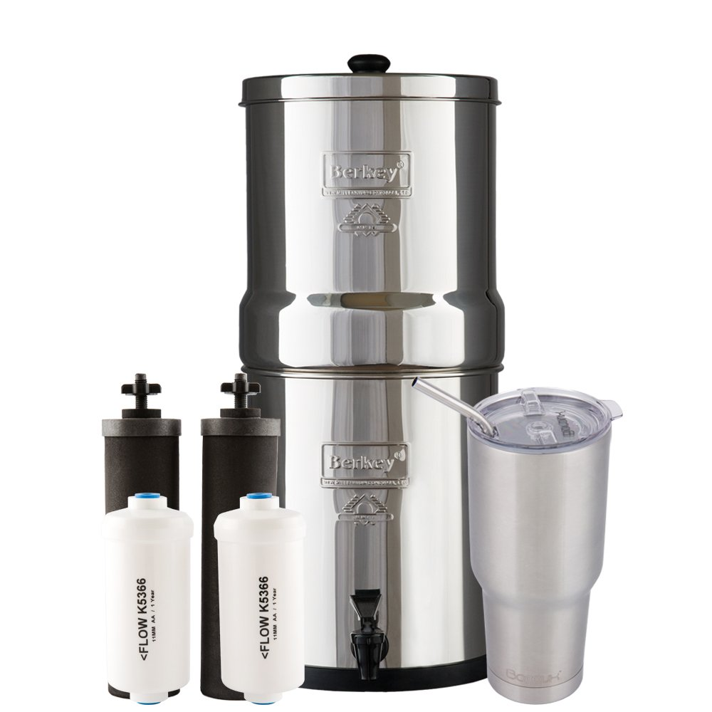 Big Berkey Water Filter System with 2 Black Purifier Filters (2 Gallons) Bundled with 2 of Fluoride (PF2) Filters and 1 Boroux Double Walled 30 oz Stainless Steel Tumbler Cup by Berkey