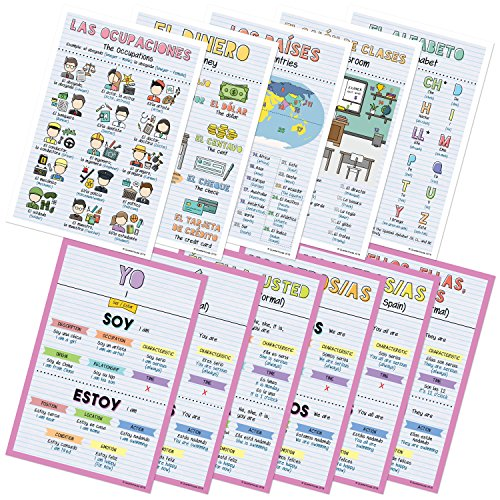 Spanish Verbs & Beginner Vocabulary Classroom Variety Posters, Set of 11, 12 x 18 inches (Set D)