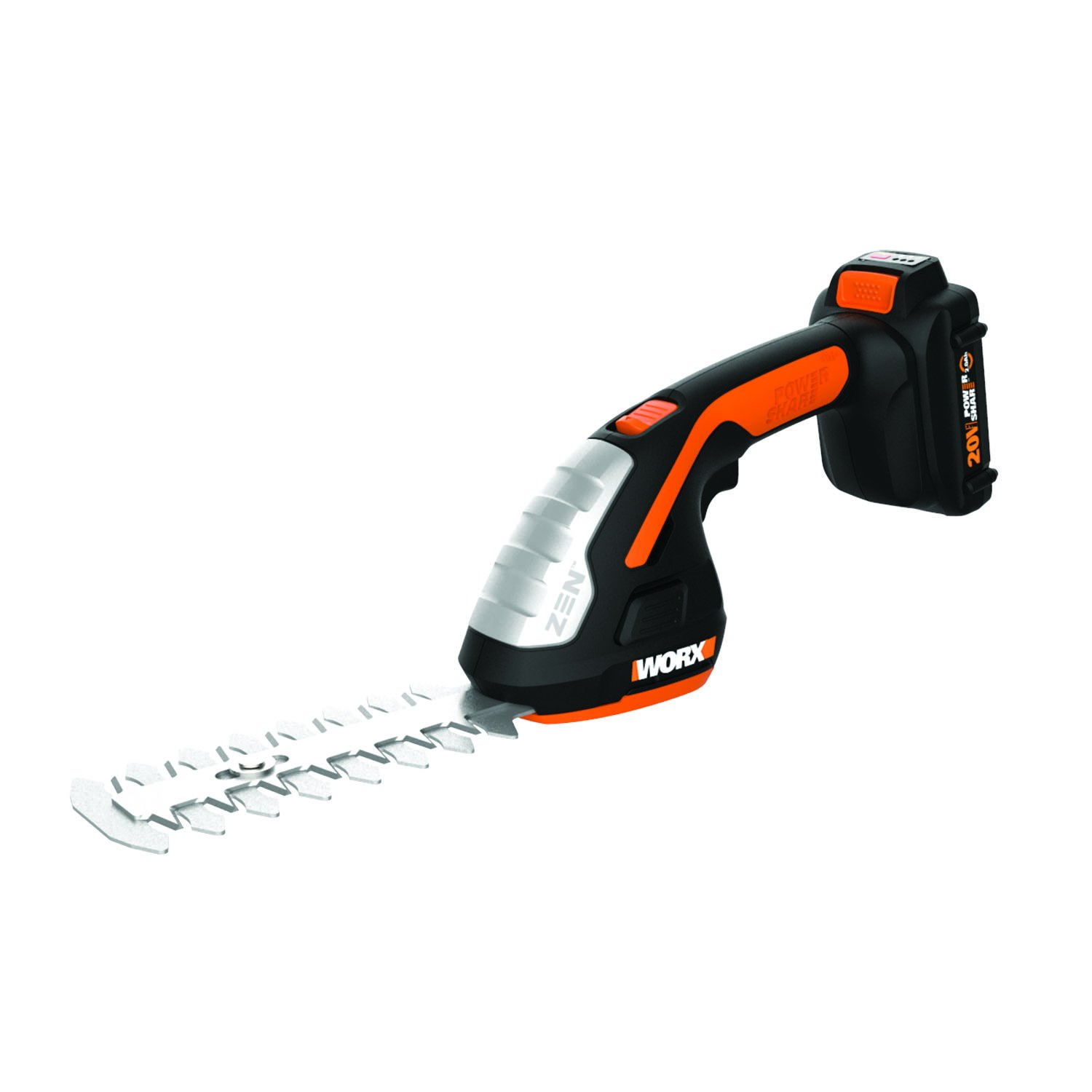 Worx WG801 Lithium Ion Shear Shrubber Trimmer, Black and Orange
