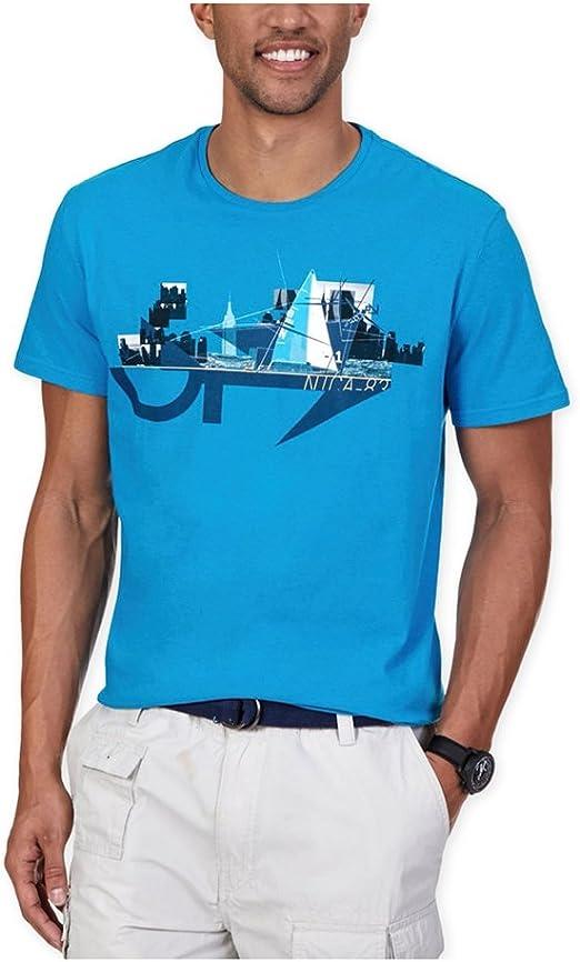 Nautica hombres del Yate en la ciudad gráfico camiseta - Azul ...