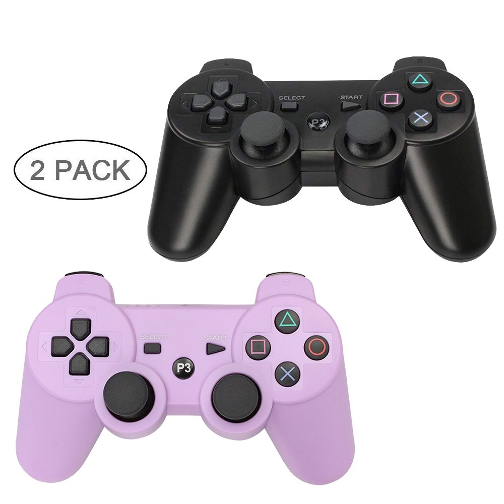 YOUCable PS3 Controller Wireless Playstation 3 Remote Dualshock Bluetooth Gamepad (Black+Purple)