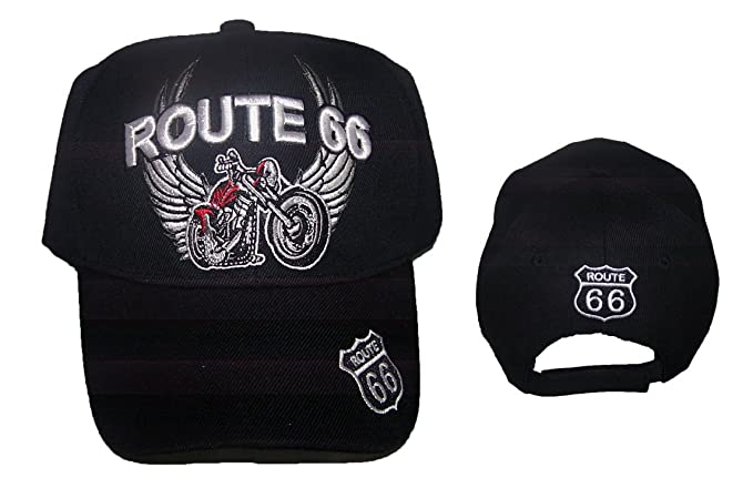 Route 66 Motorcycle Wings Baseball Caps Hats Embroidered (7508BR Z ... 85369777128f