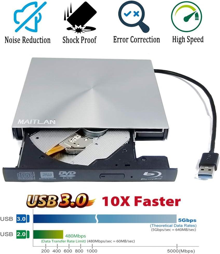 New USB 3.0 External 6X 3D Blu-Ray Writer Pop-Up Portable Optical Drive for Apple iMac 27 21.5 Inch Mac Pro Book Desktop 2019 Desktop Computers PC Dual Layer 8X DVD+-R DL Burner Player