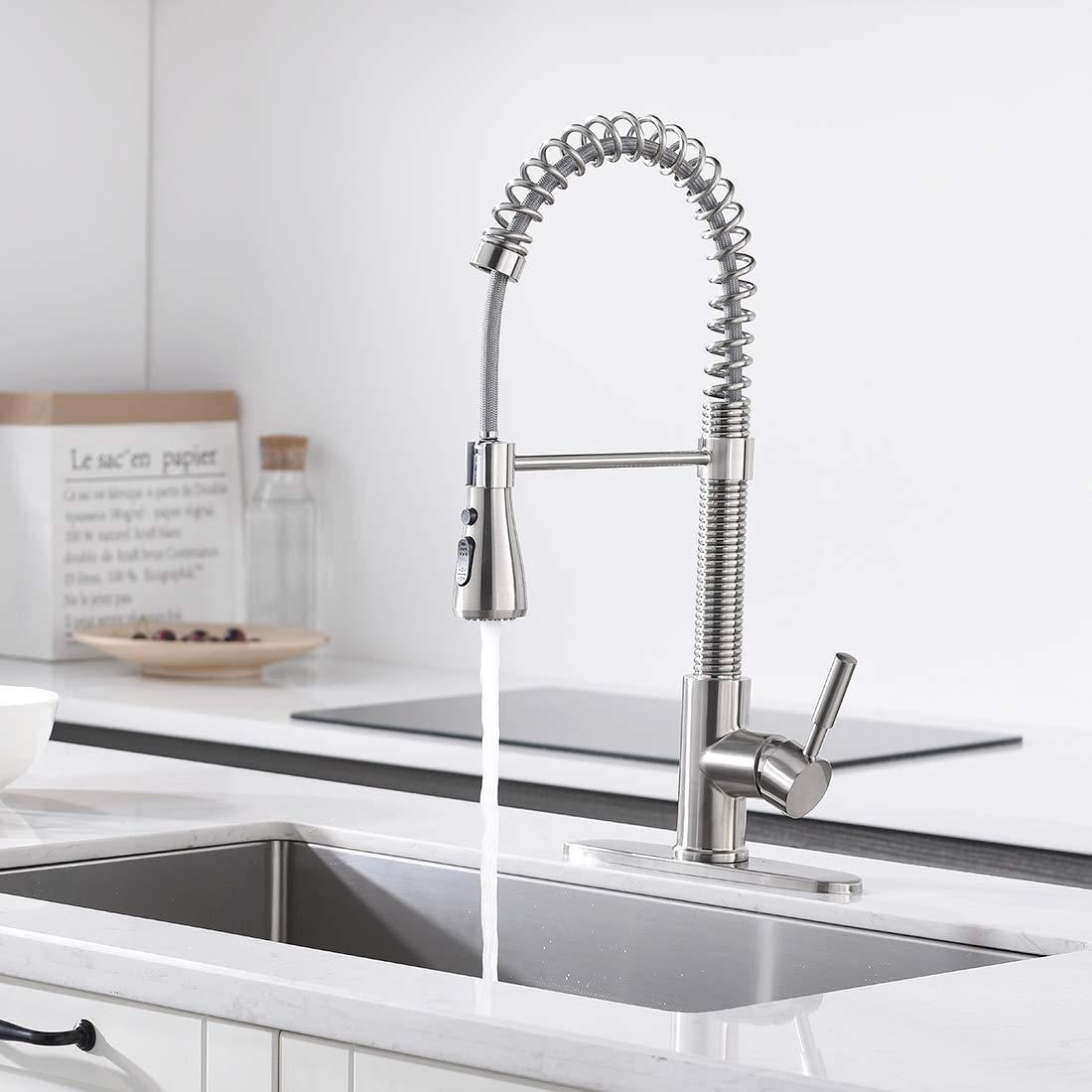 """ENUS 1016SS Single Handle 20"""" Height Commercial Kitchen Faucet with Pasue Button Spray Pull Down Kitchen Sink Faucets with Deck Plate, Brushed Nickel by ENUS (Image #1)"""