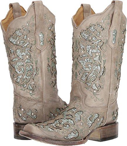 Corral Boots Women's A3435 White/Green Glitter 9 B US -