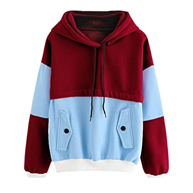 Amazon.com: MERRYDAY Women Color Block Patchwork Button Decorated Long Sleeve Pocket Sudadera Mujer Hoodies: Clothing