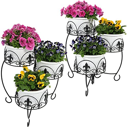Sunnydaze Three-Tiered Plant Stand, Indoor/Outdoor Metal Flower Holder, 22 Inch, Set of Two, ()
