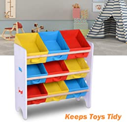 Yescom Kids Toy Storage Organizer with 9 Removable Bins for Playroom Drawing Room