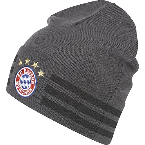 adidas Herren Bayern München 3-Stripes Woolie Mütze, Granite/Dark Grey Heather/Solid Grey, OSFM
