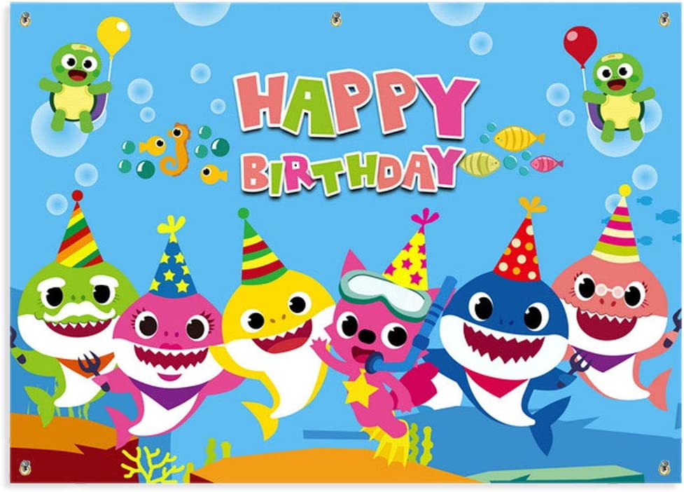 Kobit Shark Happy Birthday Banner Cute Cartoon Shark Birthday Backdrop Banner Baby Birthday Shark Party Decorations Supplies Family Photo Booth Backdrop, Large Size 71 x 49 inch