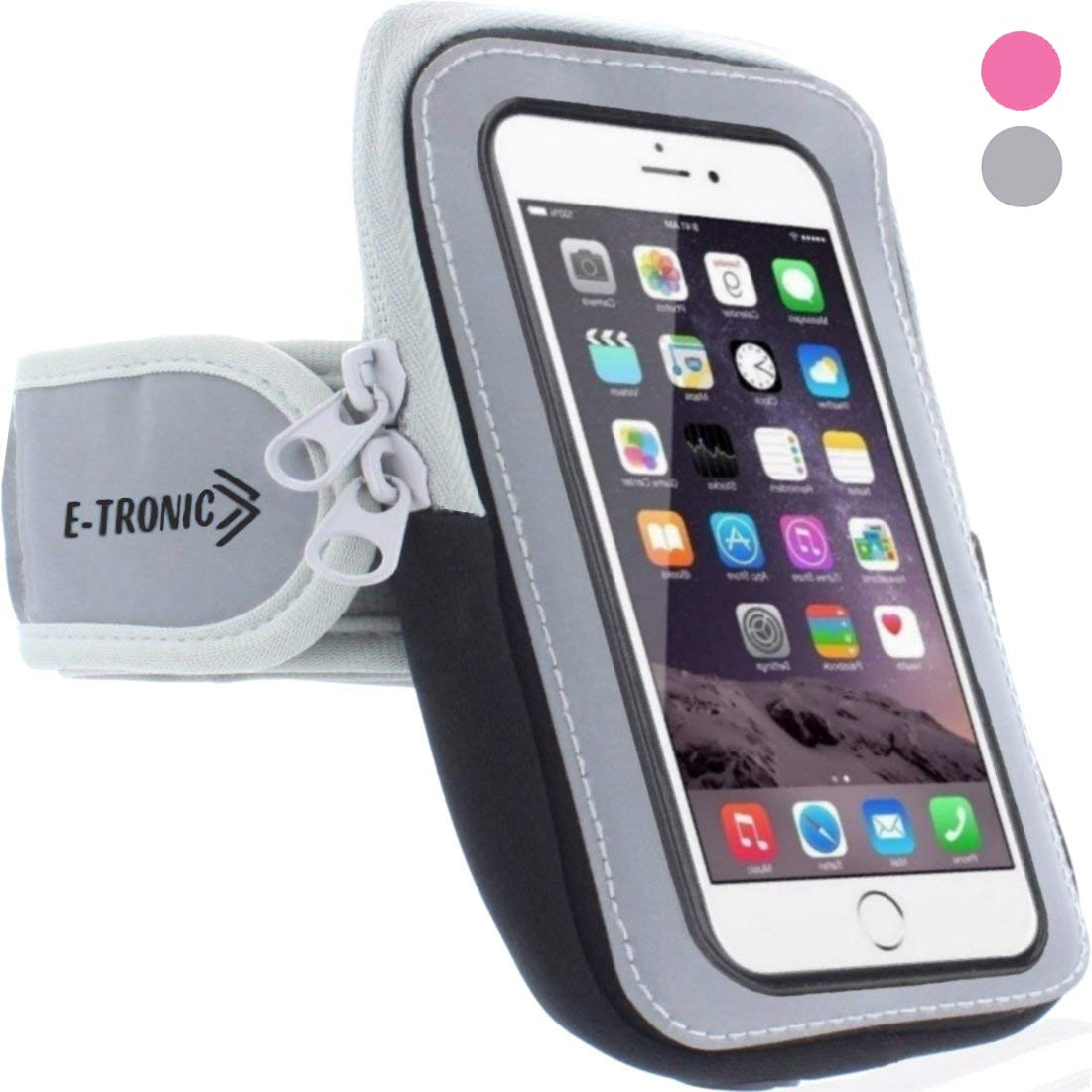 Sports Armband: Cell Phone Holder Case Arm Band Strap With Zipper Pouch/ Mobile Exercise Running Workout For Apple iPhone 6 6S 7 Plus Touch Android Samsung Galaxy S5 S6 S7 Note 4 5 Edge LG HTC Pixel by E Tronic Edge (Image #2)