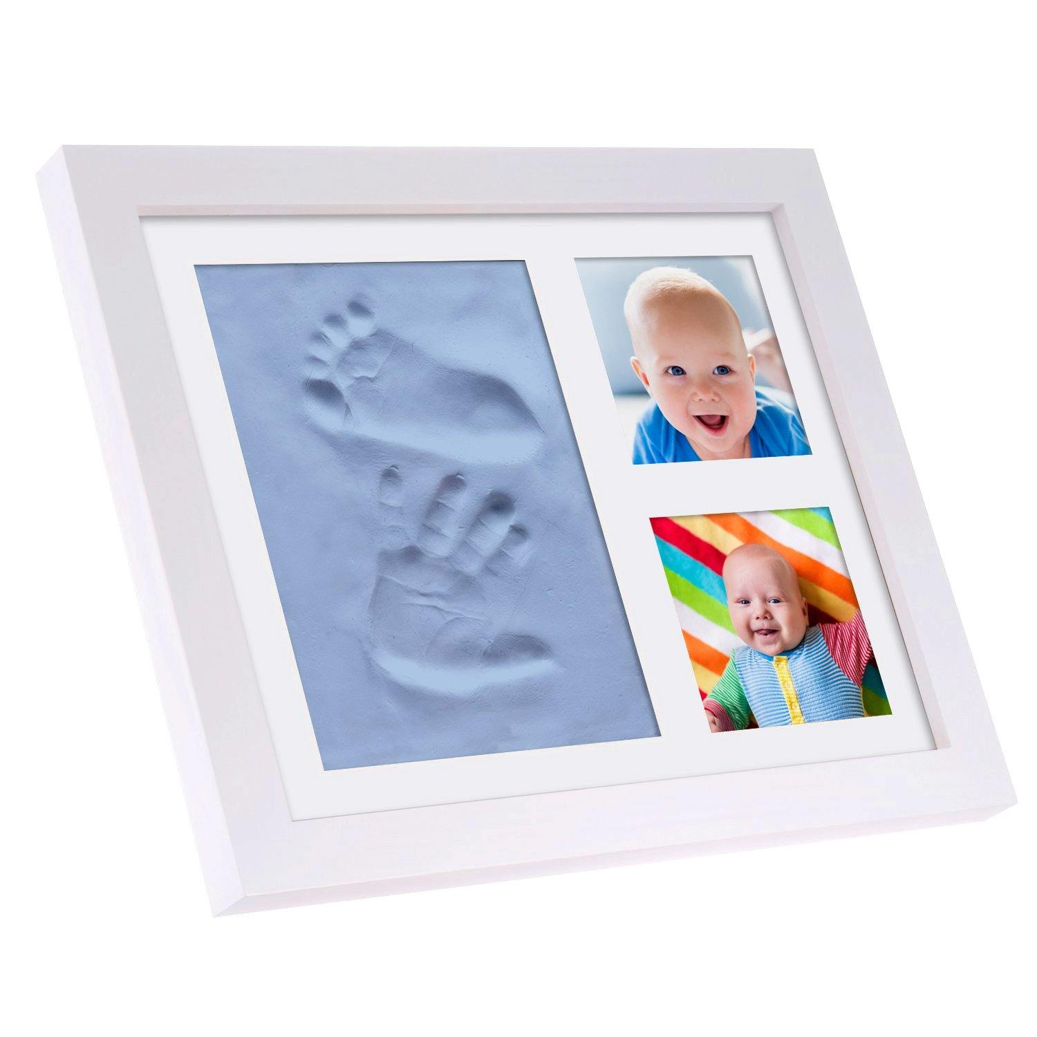 BABYSIMBA Baby Presents - Baby hand and footprint kit kids Picture Frame. New Baby Christmas Gift/Christening Gift Present. Certified Safe Clay baby hand and footprint kits for Newborns and Babies Simbablue1