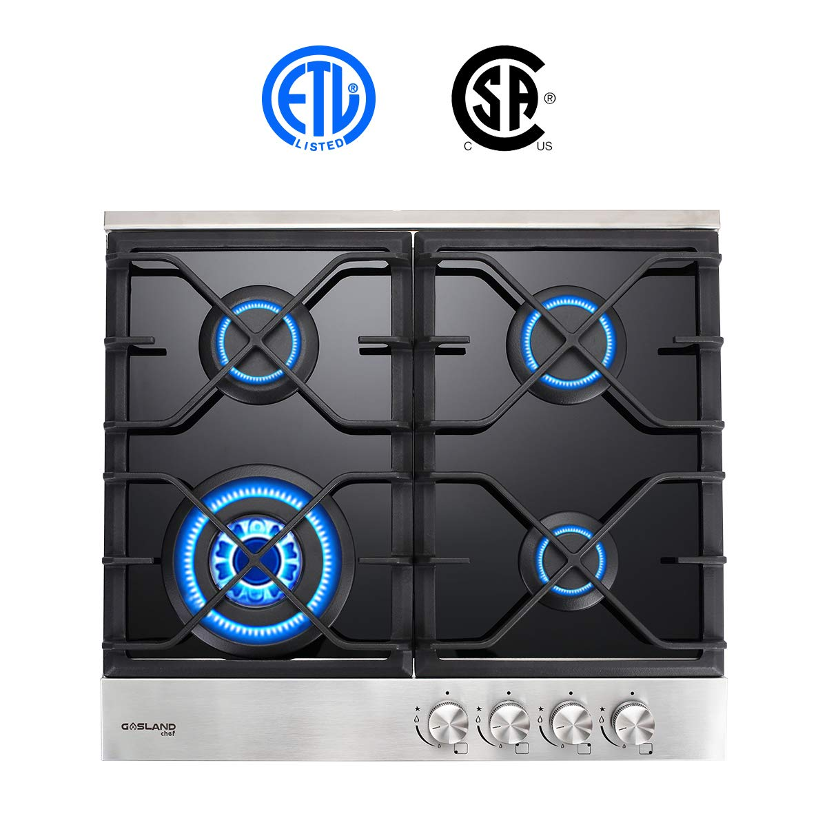 Gas Cooktop, Gasland Chef GH60BF 24'' 4 Burner Built-in Gas Cooktops, Black Tempered Glass LPG Natural Gas Hob, 24 inch 4-burner Gas Stove Top, ETL Safety Certified, Thermocouple Protection by GASLAND