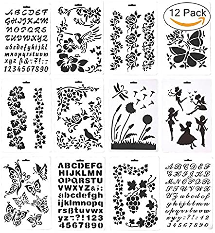 12 Drawing Painting Stencils Template Set, Magnolora Graphics Stencils for Children Creation, Scrapbooking, Bullet Journal, DIY Albums Accessories, Card and Craft - Big Bird Alphabet
