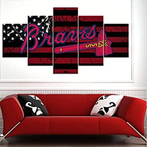 Sports Room Decorations Atlanta Braves Logo Paintings Major League Baseball Pictures 5 Piece Canvas Wall Art Contemporary Artwork Home Decor for Living Room Framed Ready to Hang(60Wx32H inches)