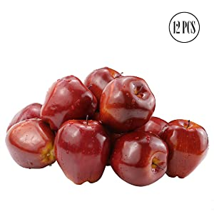 "BcPowr 12PCS Fake Fruit Apples Artificial Deep Red Apples Artificial Lifelike Simulation Red Apples Fake Fruit Home House Display Decoration for Still Life Paintings Kitchen Decor (Red, 3.15""x3.54"")"