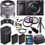 Sony Alpha a6000 Mirrorless Digital Camera with 16-50mm Lens (Black) + Sony SEL 1855 18-55mm Zoom Lens + 16GB Bundle 13 - International Version (No Warranty)