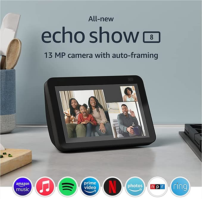 All-new Echo Show 8 (2nd Gen, 2021 release)   HD smart display with Alexa and 13 MP camera   Charcoal   Amazon