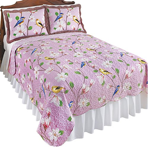 Collections Etc Birds & Magnolia Floral Garden Reversible Lavender Quilt, Twin from Collections Etc