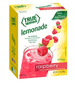 TRUE LEMON Raspberry Lemonade Drink Mix (30 Packets) Made from Real Lemon No Preservatives, No Artificial Sweeteners, Gluten Free Water Flavor Packets & Water Enhancer with Stevia