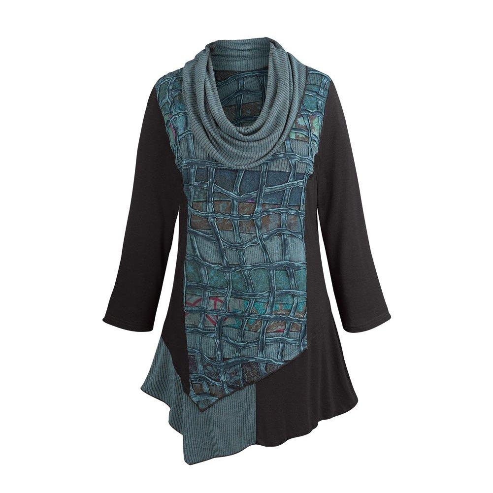 Parsley & Sage Women's Lattice Tunic Top - Cowl Neck 3/4 Sleeve Long Blouse - Small