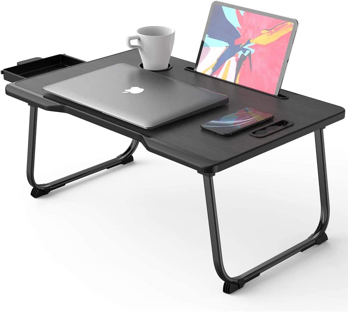 Laptop Desk with Handle, Portable Laptop Desk Breakfast Tray Table with Foldable Legs &Strechable Drawer &Notebook Stand Reading Holder &Cup Slot for Bed/Sofa/Couch/Floor