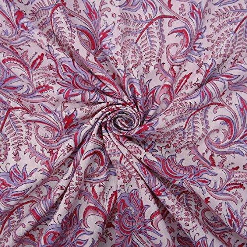 5 Yard Sold By Yard Indian Hand Block Printed Cotton Floral Fabric,Indian Kalamkari hand printed Fabric,Soft Cotton Lightweight Fabric