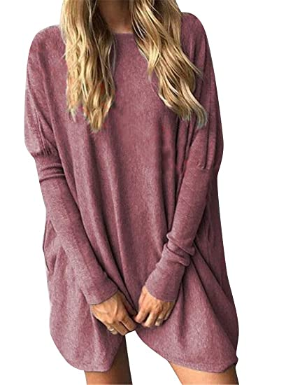 cc636c2c2dd1fb Fubotevic Womens Long Sleeve Crew Neck Casual Longline Loose Fit Plus Size  Solid Color Top Blouse T-Shirt at Amazon Women's Clothing store: