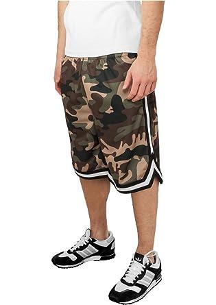 5a33e7b86d Urban Classics TB649 Camo Stripes Mesh Shorts Man Urban Fit Wood Camo Black  White Nero Bianco