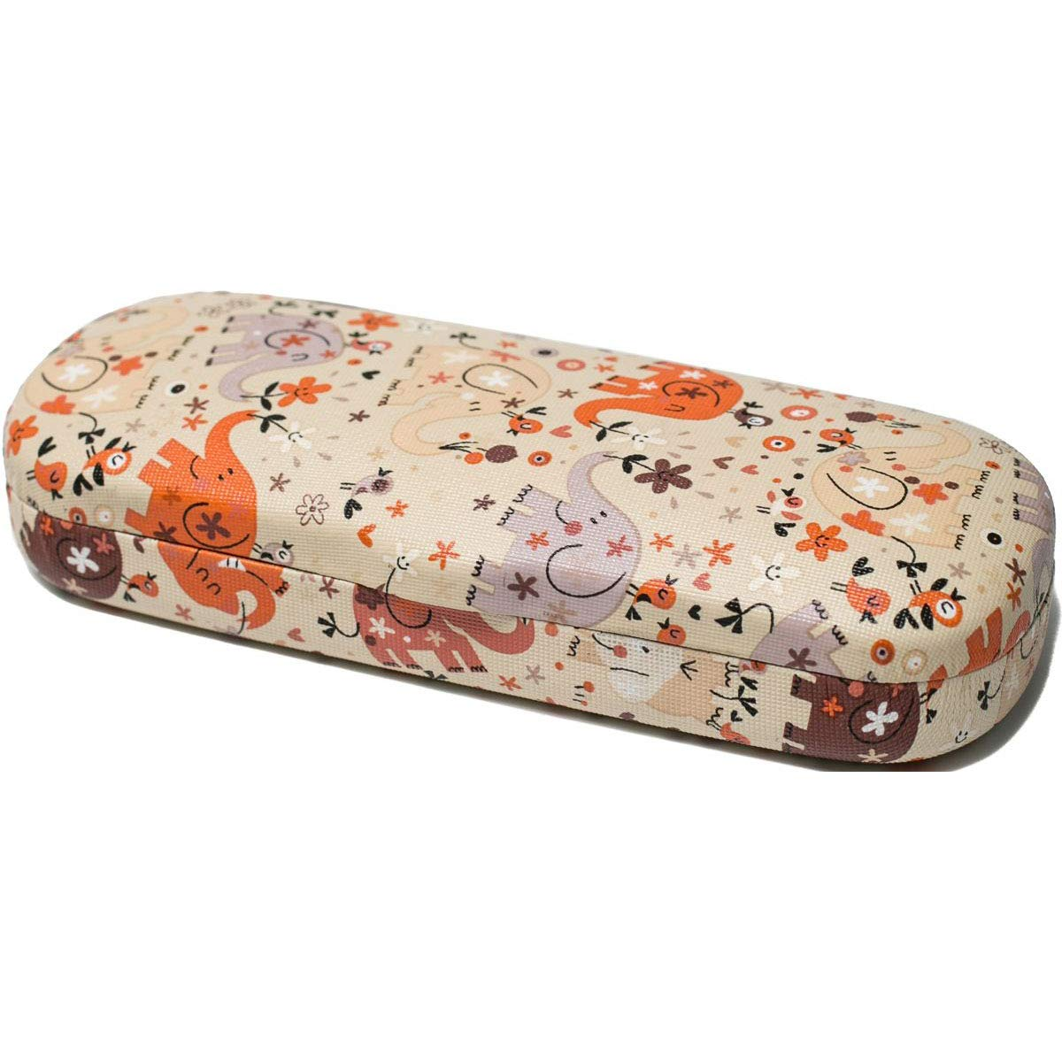 Handmade Russian Eyeglass case for a boy, beige with a color print, on a solid basis, covered with artificial leather by RuPost