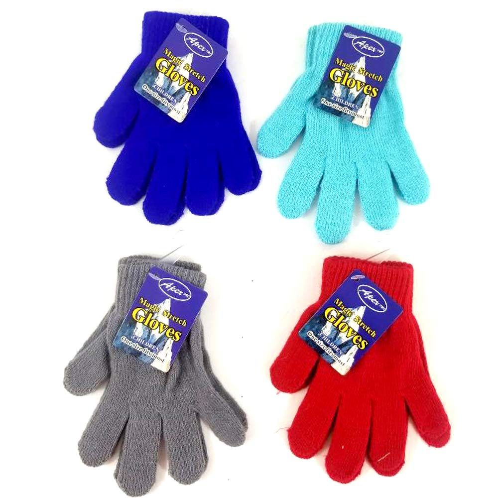 Warm Winter Magic Gloves for Children (Boys/Girls) Stretchable and Assorted Colors 48 Pack