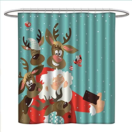 Jinguizi Santa Shower Curtains With Hooks Father Xmas Funny Face And Silly Reindeer Buddies