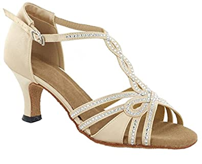 433b07804a TDA Womens T-Strap Peep Toe High Heels Crystals 6cm Heel Beige Satin Latin  Modern