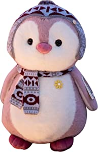 SIZHINAI Cute Penguin Plush Toy, Filled Cartoon Couple Doll with hat and Scarf, Soft Cushion, Decoration Gift for Home, Cute Penguin Fluffy Plush Toy 7.9-14.57 inch