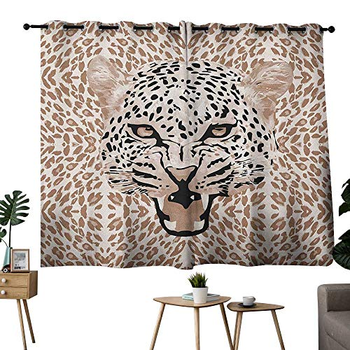 bybyhome Modern Grommets Home Darkening Curtains Roaring Leopard Portrait with Rosettes Wild African Animal Big Cat Graphic Set of 2 Panels Cocoa Beige Black W84 x -