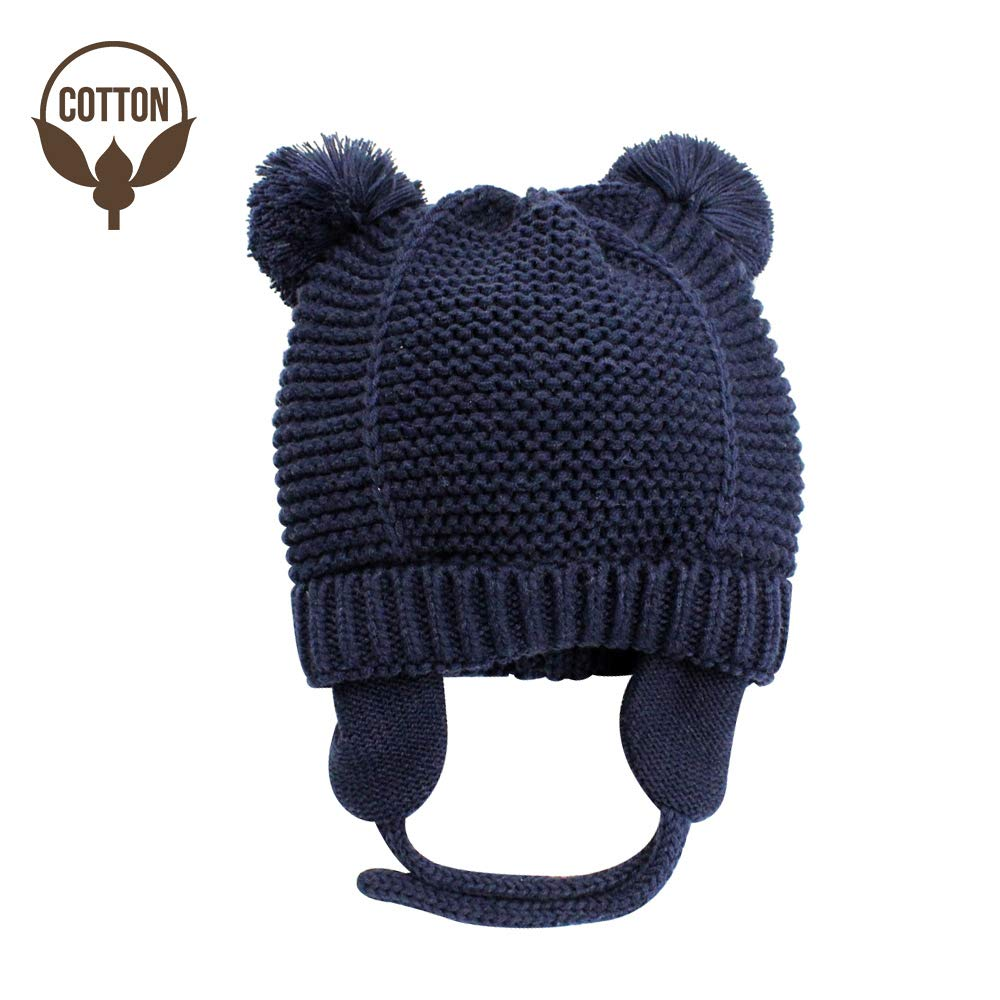 BAVST Kids Toddler Knit Beanie Hat for Winter with Earfalp Cute Pom Pom Cap for 0-3 Years Girls Boys