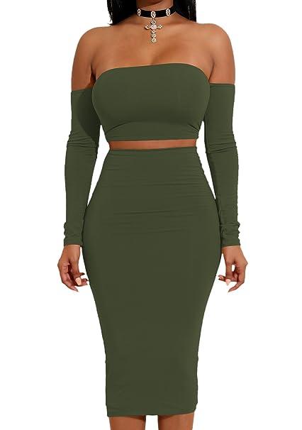 b27788534f1 YiYaYo Womens Sexy Off Shoulder Crop Top Midi Skirt 2 Pieces Bodycon Bandage  Club Dress ArmyGreen