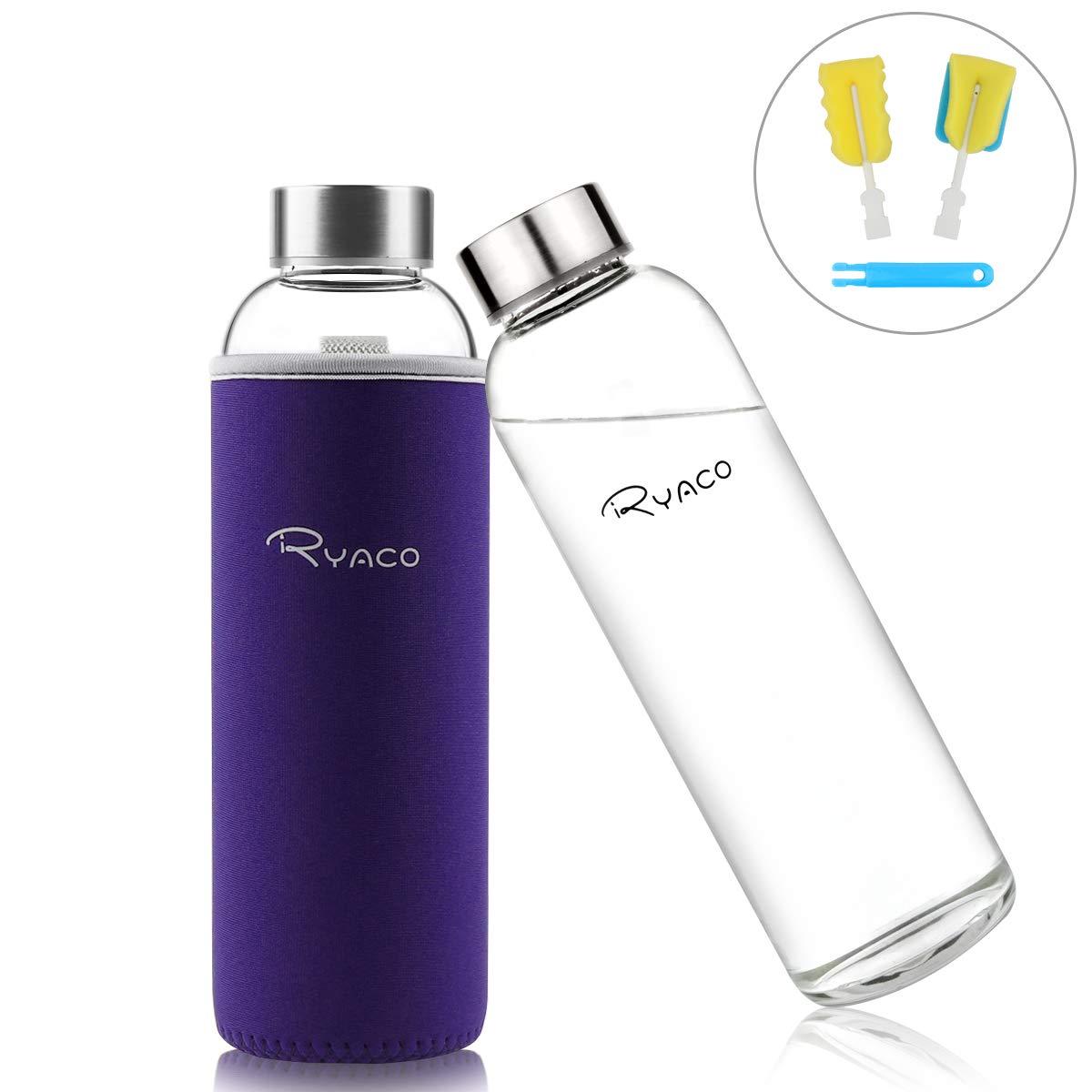 Ryaco Botella de Agua Cristal 550ml, Botella de Agua Reutilizable 18 oz, Sin BPA Antideslizante Protección Neopreno Llevar Manga y Cepillo de Esponja: ...
